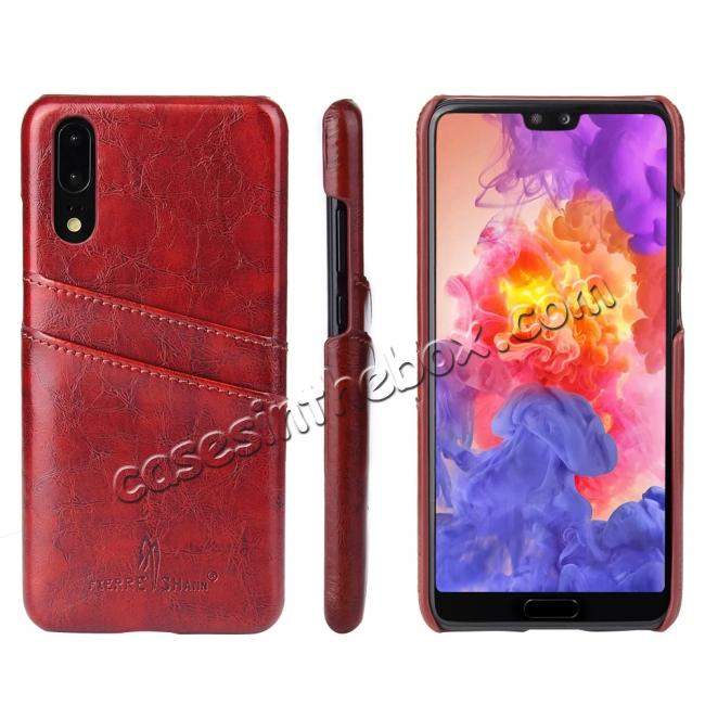 wholesale Oil Wax Card Holder Back PU Leather Case for Huawei P20 - Brown