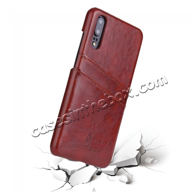 discount Oil Wax Card Holder Back PU Leather Case for Huawei P20 - Brown