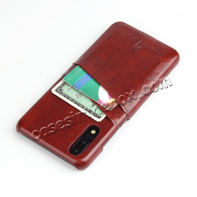 cheap Oil Wax Card Holder Back PU Leather Case for Huawei P20 - Brown