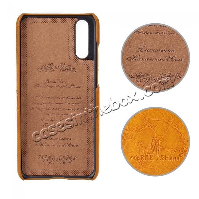 top quality Oil Wax Card Holder Back PU Leather Case for Huawei P20 - Brown