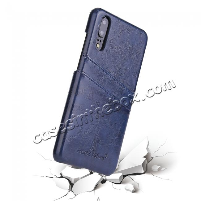 discount Oil Wax Card Holder Back PU Leather Case for Huawei P20 - Dark Blue