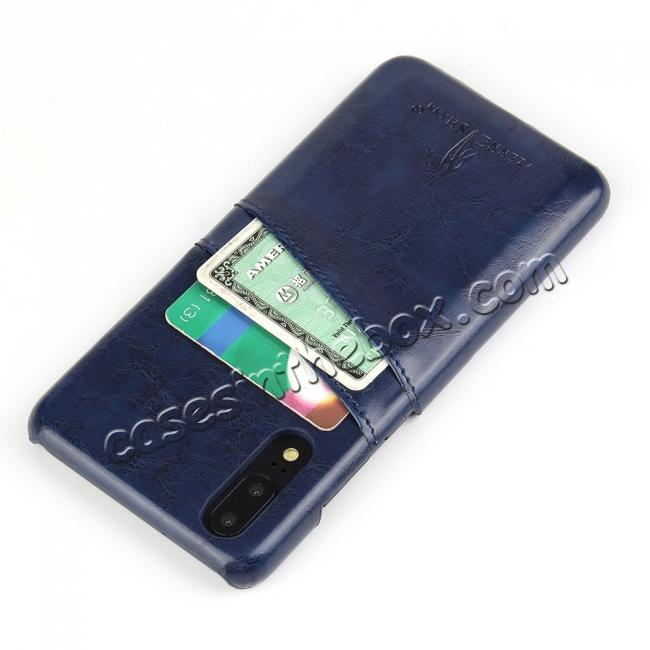 cheap Oil Wax Card Holder Back PU Leather Case for Huawei P20 - Dark Blue