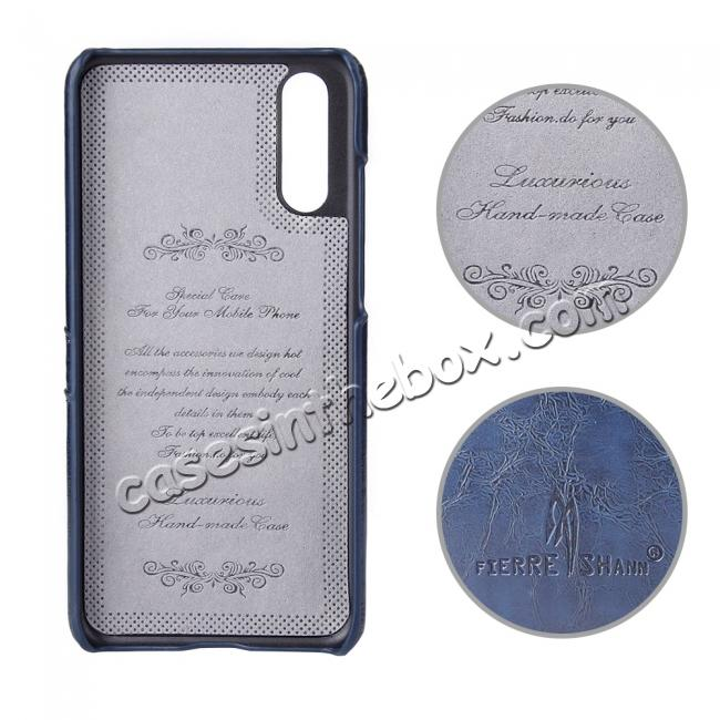 top quality Oil Wax Card Holder Back PU Leather Case for Huawei P20 - Dark Blue