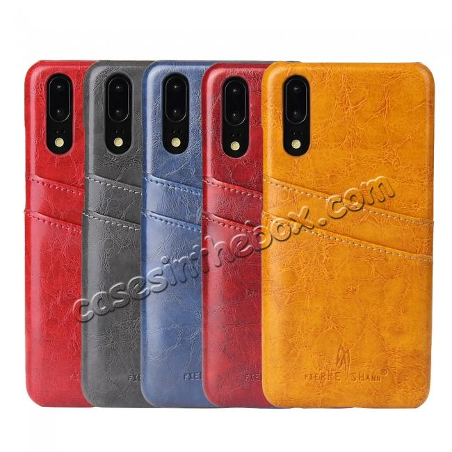 best price Oil Wax Card Holder Back PU Leather Case for Huawei P20 - Dark Blue
