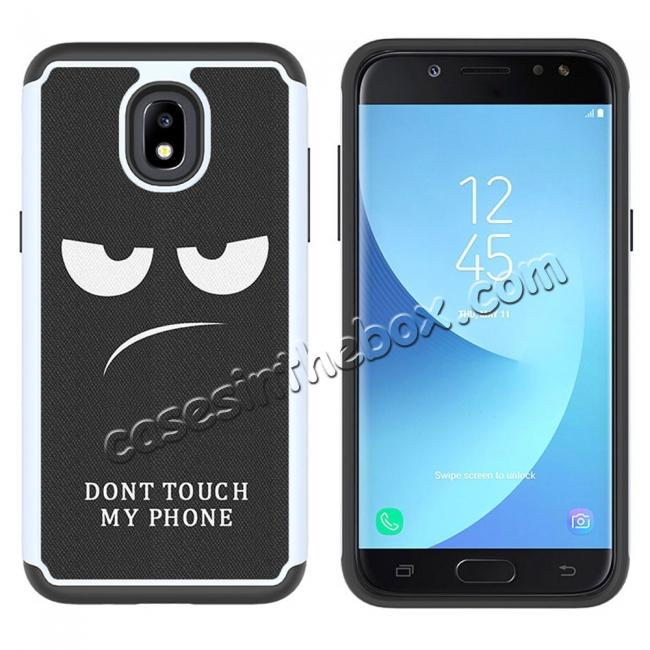 cheap Patterned Hybrid Dual Layer Shockproof Protective Case For Samsung Galaxy J3 (2018) - White&Black