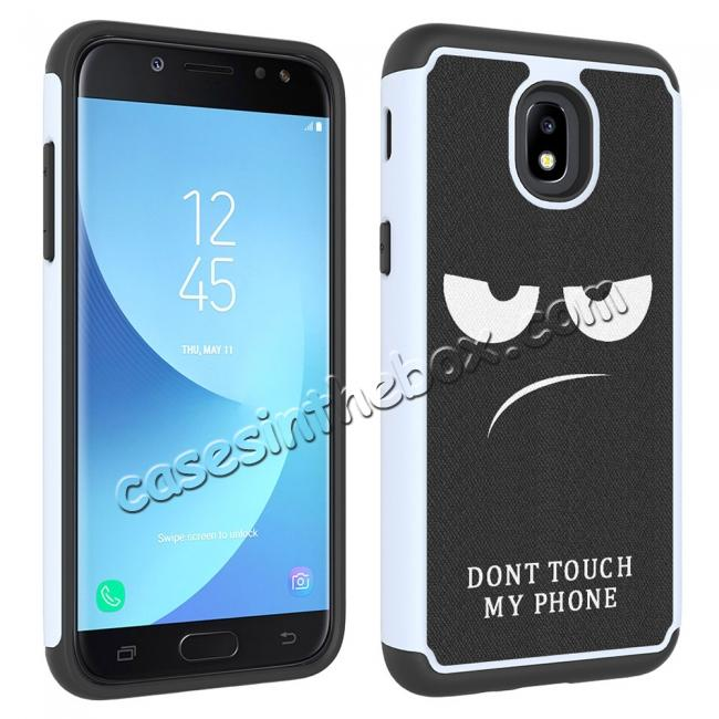 discount Patterned Hybrid Dual Layer Shockproof Protective Case For Samsung Galaxy J3 (2018) - White&Black