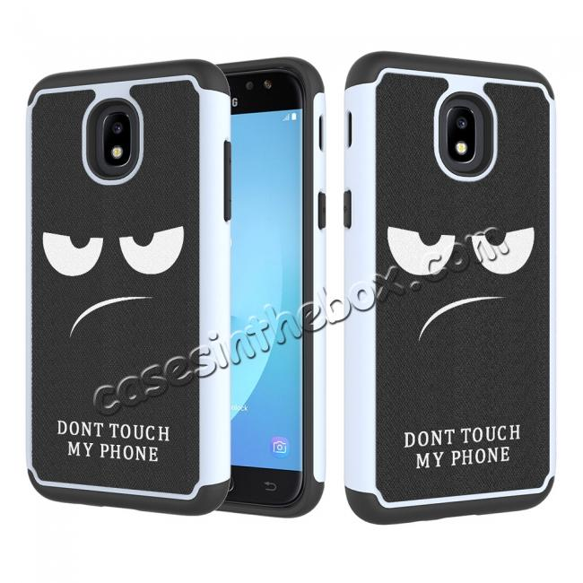 wholesale Patterned Hybrid Dual Layer Shockproof Protective Case For Samsung Galaxy J3 (2018) - White&Black