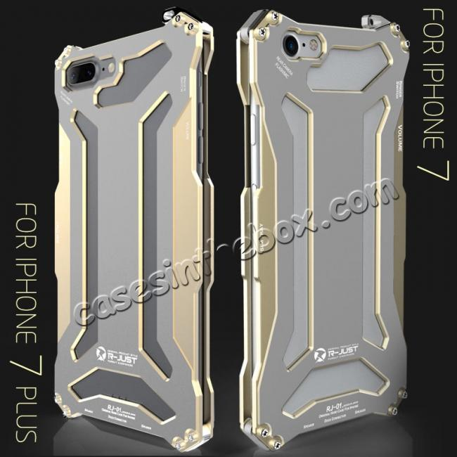 low price R-JUST Full Aluminum Metal Shockproof Phone Case for iPhone 5 5S IPhone 6 6S iPhone 7 7 Plus 8 8 Plus iPhone X + FREE SHIPPING