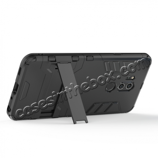 cheap Slim Armor Stand Shockproof Hybrid Rugged Rubber Hard Back Case for LG G7 ThinQ - Black
