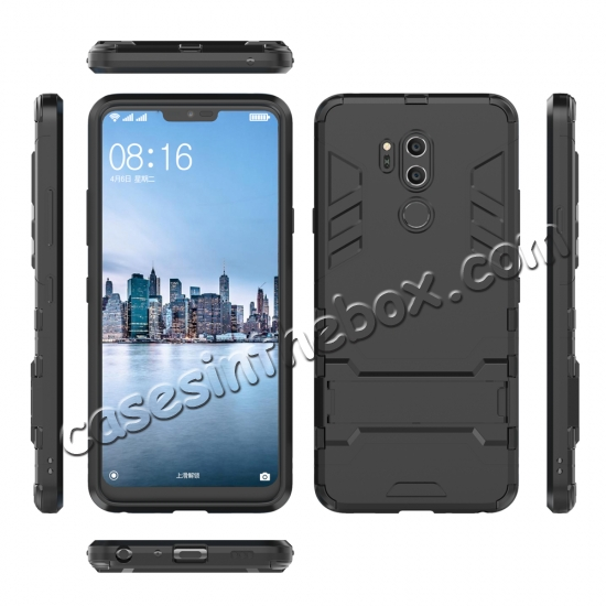 discount Slim Armor Stand Shockproof Hybrid Rugged Rubber Hard Back Case for LG G7 ThinQ - Black