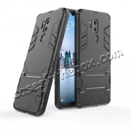 wholesale Slim Armor Stand Shockproof Hybrid Rugged Rubber Hard Back Case for LG G7 ThinQ - Black