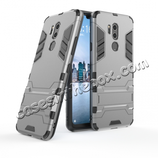 wholesale Slim Armor Stand Shockproof Hybrid Rugged Rubber Hard Back Case for LG G7 ThinQ - Gray
