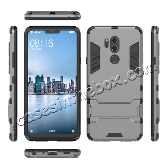 discount Slim Armor Stand Shockproof Hybrid Rugged Rubber Hard Back Case for LG G7 ThinQ - Gray