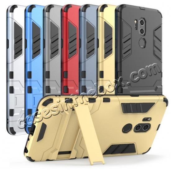 top quality Slim Armor Stand Shockproof Hybrid Rugged Rubber Hard Back Case for LG G7 ThinQ - Navy blue