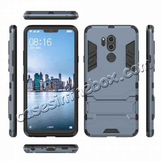 discount Slim Armor Stand Shockproof Hybrid Rugged Rubber Hard Back Case for LG G7 ThinQ - Navy blue