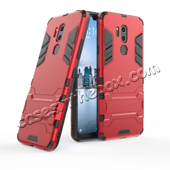 wholesale Slim Armor Stand Shockproof Hybrid Rugged Rubber Hard Back Case for LG G7 ThinQ - Red
