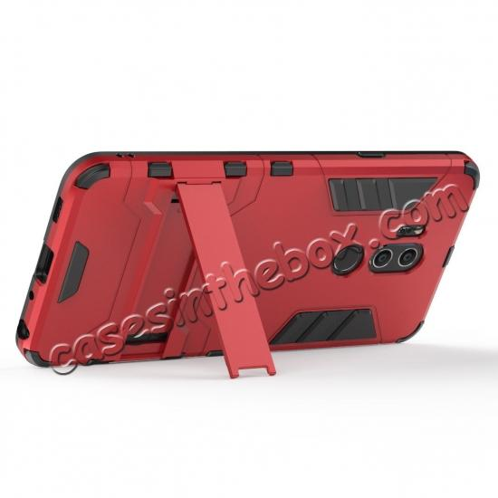 cheap Slim Armor Stand Shockproof Hybrid Rugged Rubber Hard Back Case for LG G7 ThinQ - Red
