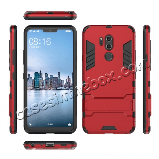 discount Slim Armor Stand Shockproof Hybrid Rugged Rubber Hard Back Case for LG G7 ThinQ - Red