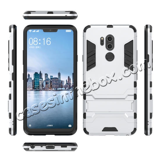 discount Slim Armor Stand Shockproof Hybrid Rugged Rubber Hard Back Case for LG G7 ThinQ - Silver