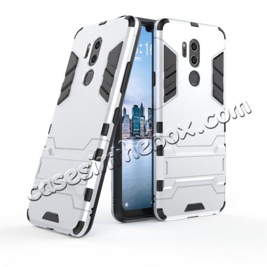 wholesale Slim Armor Stand Shockproof Hybrid Rugged Rubber Hard Back Case for LG G7 ThinQ - Silver