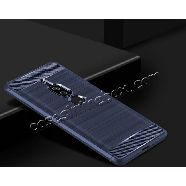 on sale Slim Flexible TPU Case Anti-slip Anti-Scratch Protective Case for Sony Xperia XZ2 Premium - Navy Blue
