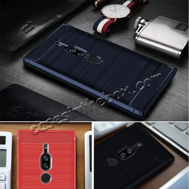 low price Slim Flexible TPU Case Anti-slip Anti-Scratch Protective Case for Sony Xperia XZ2 Premium - Navy Blue
