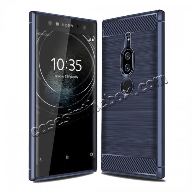 wholesale Slim Flexible TPU Case Anti-slip Anti-Scratch Protective Case for Sony Xperia XZ2 Premium - Navy Blue