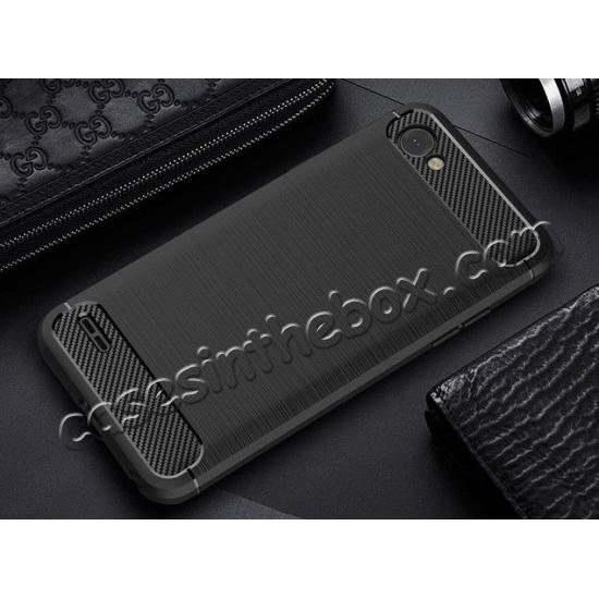 discount Case for LG Q6 / Q6a, Ultra Slim Shockproof TPU Carbon Fiber Protective Phone Cover - Black
