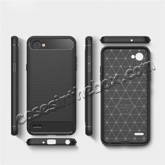 best price Case for LG Q6 / Q6a, Ultra Slim Shockproof TPU Carbon Fiber Protective Phone Cover - Black
