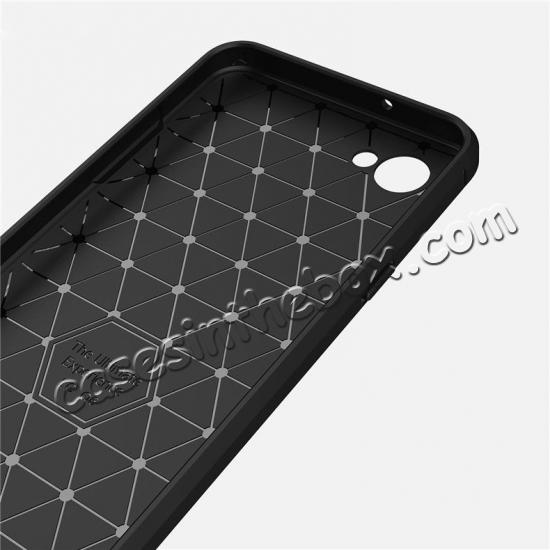 cheap Case for LG Q6 / Q6a, Ultra Slim Shockproof TPU Carbon Fiber Protective Phone Cover - Black
