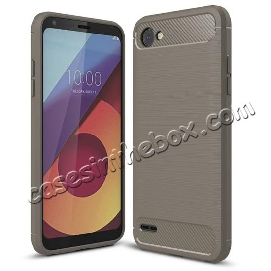 wholesale Case for LG Q6 / Q6a, Ultra Slim Shockproof TPU Carbon Fiber Protective Phone Cover - Gray