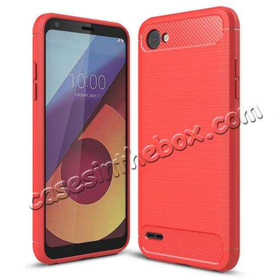wholesale Case for LG Q6 / Q6a, Ultra Slim Shockproof TPU Carbon Fiber Protective Phone Cover - Red