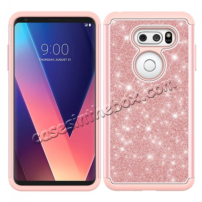 discount Fashion Bling Glitter Hybrid Shockproof Protective Phone Cover Case For LG V30 / V30S ThinQ - Rose gold