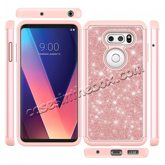 top quality Fashion Bling Glitter Hybrid Shockproof Protective Phone Cover Case For LG V30 / V30S ThinQ - Rose gold