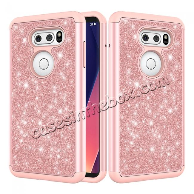 wholesale Fashion Bling Glitter Hybrid Shockproof Protective Phone Cover Case For LG V30 / V30S ThinQ - Rose gold