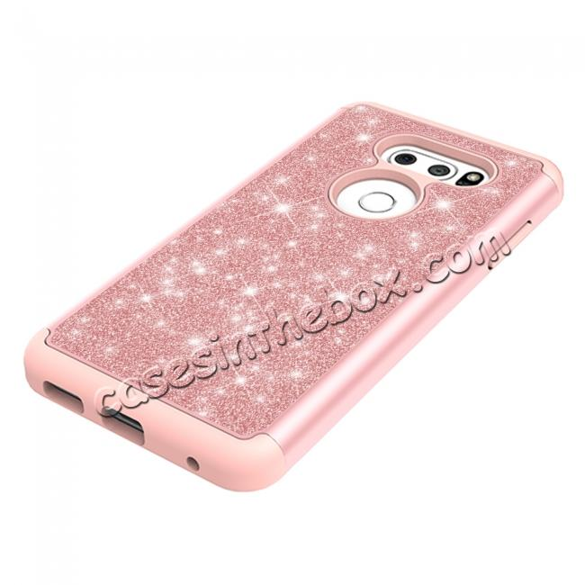 on sale Fashion Bling Glitter Hybrid Shockproof Protective Phone Cover Case For LG V30 / V30S ThinQ - Rose gold