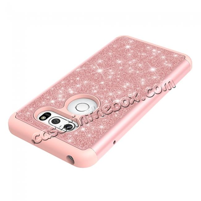 low price Fashion Bling Glitter Hybrid Shockproof Protective Phone Cover Case For LG V30 / V30S ThinQ - Rose gold