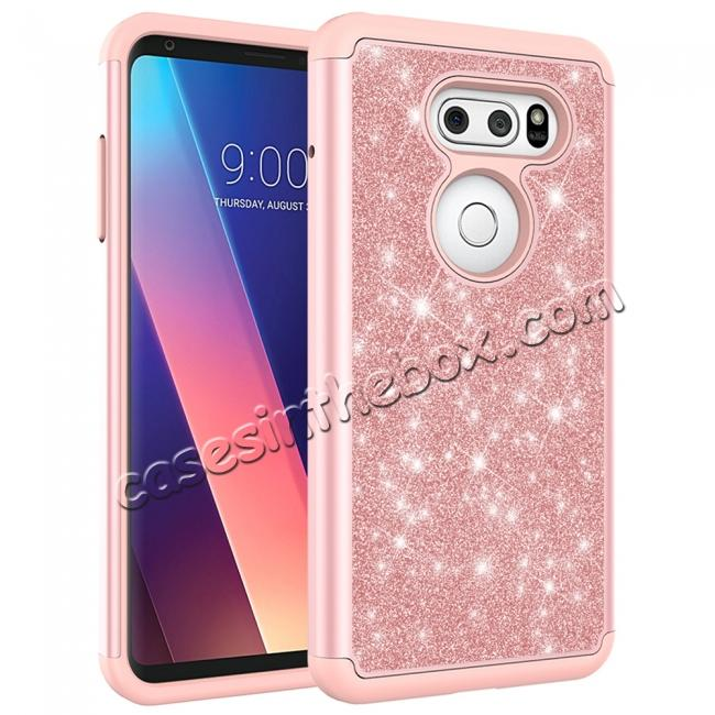 cheap Fashion Bling Glitter Hybrid Shockproof Protective Phone Cover Case For LG V30 / V30S ThinQ - Rose gold
