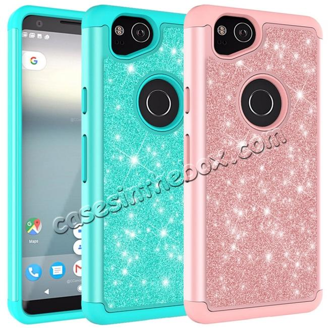 wholesale For Google Pixel 2, 2 XL Bling Armor Anti-Slip Dual Layer Shock Absorption Protective Phone Case Cover
