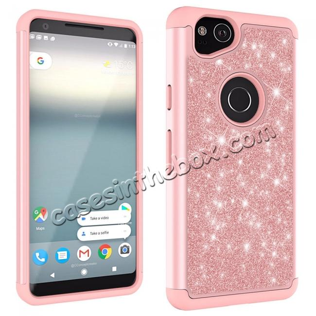 discount For Google Pixel 2, 2 XL Bling Armor Anti-Slip Dual Layer Shock Absorption Protective Phone Case Cover