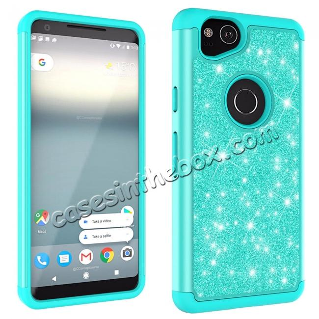 cheap For Google Pixel 2, 2 XL Bling Armor Anti-Slip Dual Layer Shock Absorption Protective Phone Case Cover