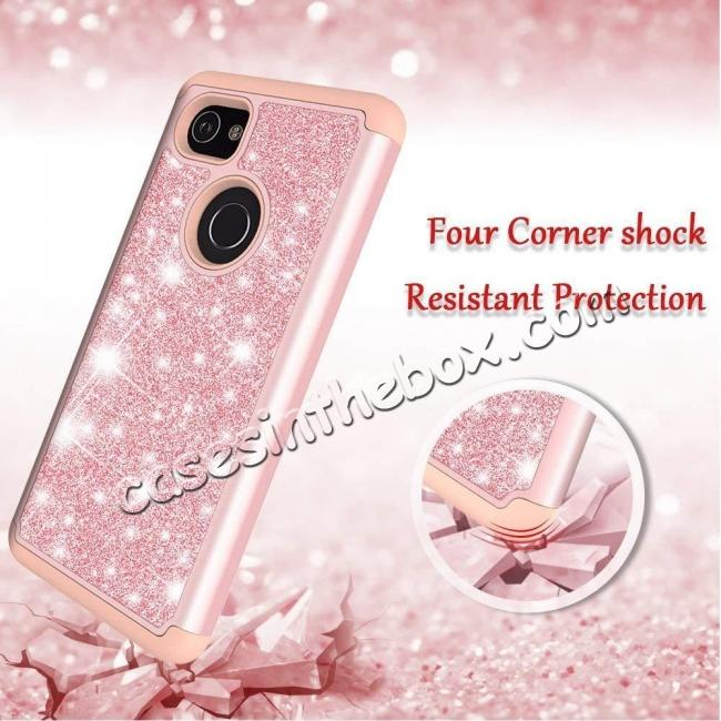 top quality For Google Pixel 2, 2 XL Bling Armor Anti-Slip Dual Layer Shock Absorption Protective Phone Case Cover