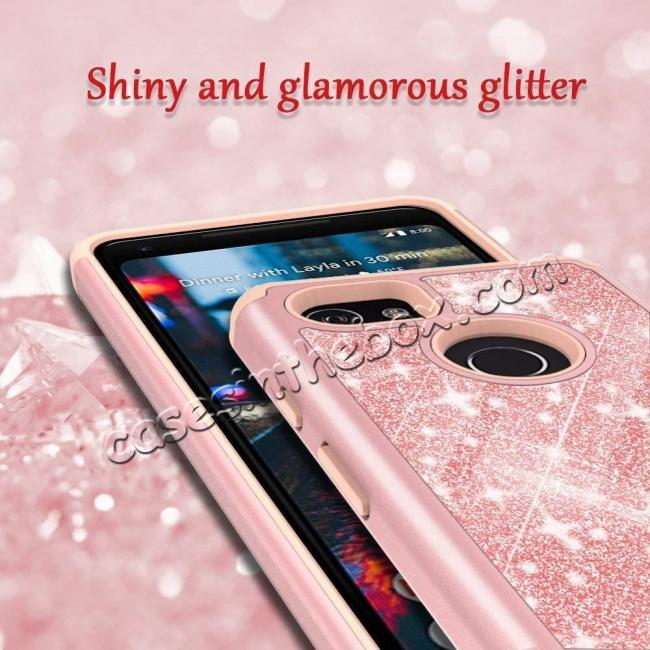 best price For Google Pixel 2, 2 XL Bling Armor Anti-Slip Dual Layer Shock Absorption Protective Phone Case Cover