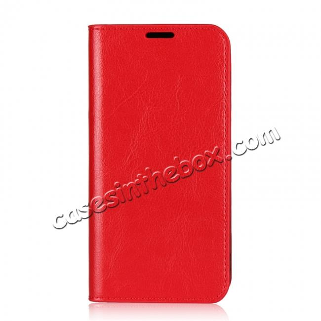 discount For Nokia X6 Luxury Crazy Horse Genuine Leather Case Flip Stand Card Slot - Red