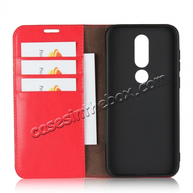 top quality For Nokia X6 Luxury Crazy Horse Genuine Leather Case Flip Stand Card Slot - Red