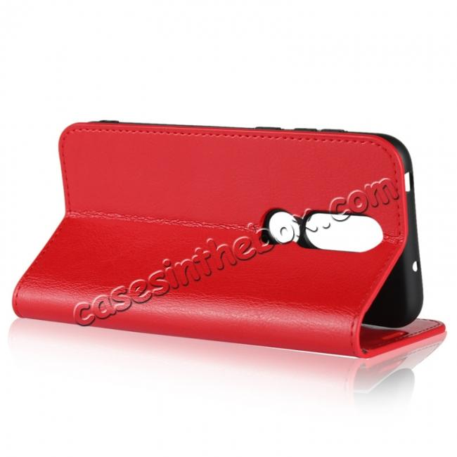 best price For Nokia X6 Luxury Crazy Horse Genuine Leather Case Flip Stand Card Slot - Red