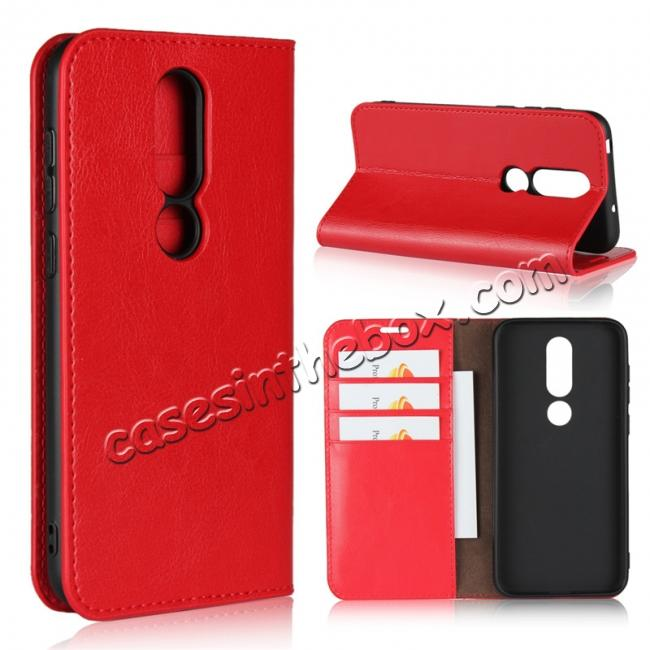 wholesale For Nokia X6 Luxury Crazy Horse Genuine Leather Case Flip Stand Card Slot - Red