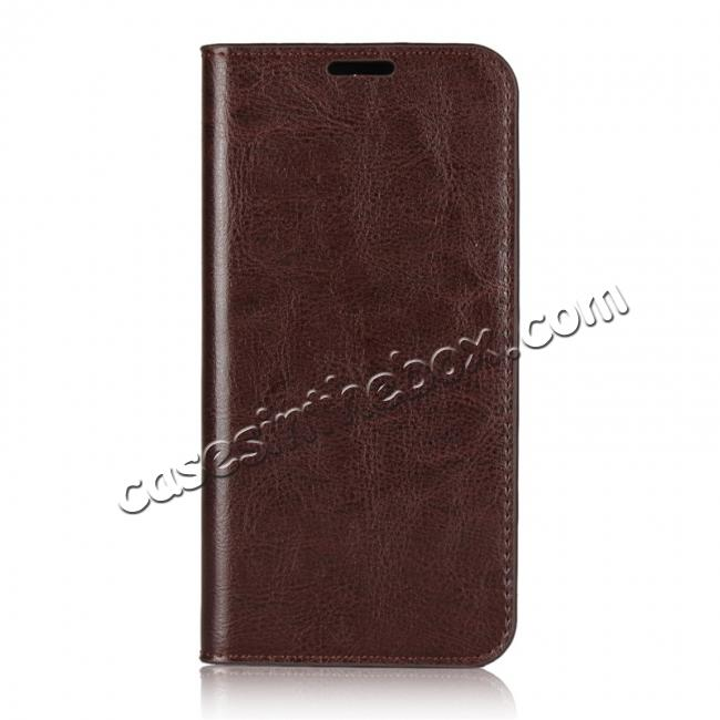 discount For Nokia X6 Luxury Crazy Horse Genuine Leather Case Flip Stand Card Slot - Coffee