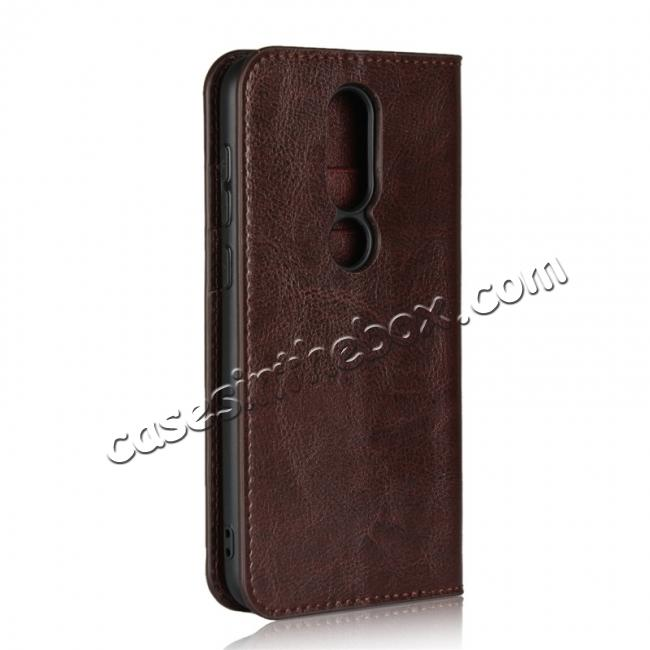 cheap For Nokia X6 Luxury Crazy Horse Genuine Leather Case Flip Stand Card Slot - Coffee