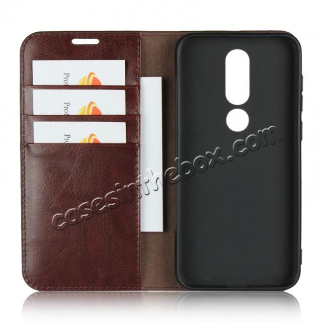 top quality For Nokia X6 Luxury Crazy Horse Genuine Leather Case Flip Stand Card Slot - Coffee